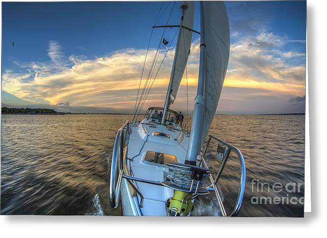 Sailing Yacht And Tropical Storm Ana Outflow  Greeting Card by Dustin K Ryan