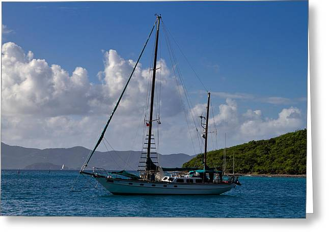 Bimini Greeting Cards - Sailing yacht at anchor Greeting Card by Louise Heusinkveld