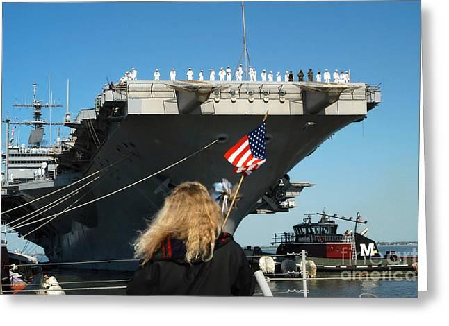 Sailors Aboard Aircraft Carrier Uss Greeting Card