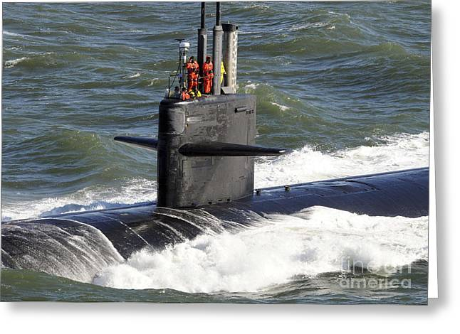 Sailors Aboard The Attack Submarine Uss Greeting Card by Stocktrek Images