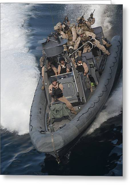 Sailors Operate A Rigid-hull Inflatable Greeting Card by Stocktrek Images