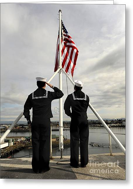 Sailors Raise The National Ensign Greeting Card by Stocktrek Images