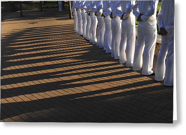 Navy Dress Greeting Cards - Sailors Stand At Parade Rest Greeting Card by Stocktrek Images