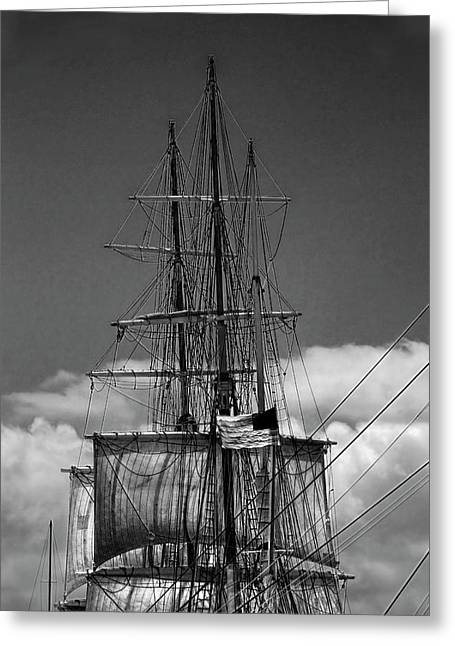 Sails And Mast Riggings On A Tall Ship In Black And White Greeting Card by Randall Nyhof