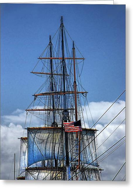 Sails And Mast Riggings On A Tall Ship With American Flag Greeting Card by Randall Nyhof