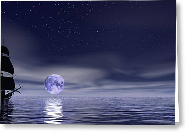 Sails Beneath The Moon Greeting Card by Mark Blauhoefer
