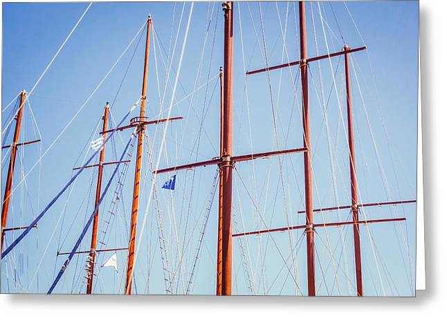 Sails In Santorini Greeting Card by Matti Ollikainen