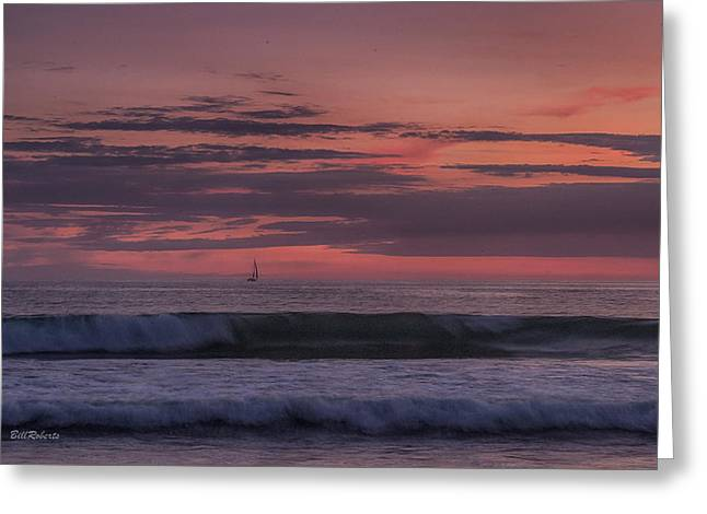 Sails In The Sunset Greeting Card by Bill Roberts