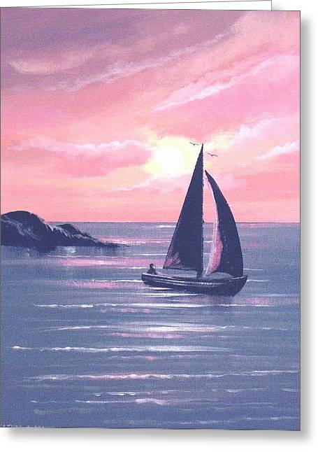 Sails In The Sunset Greeting Card by Cathal O malley