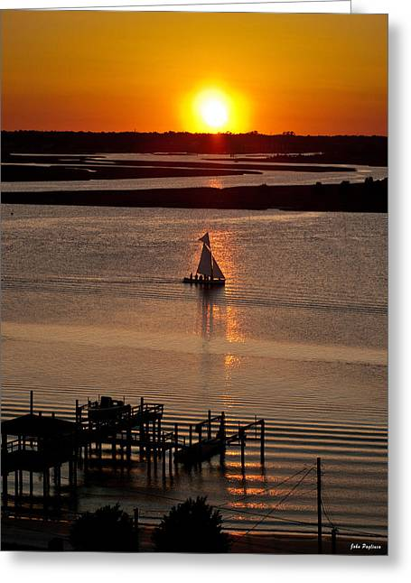 Sails In The Sunset Greeting Card by John Pagliuca