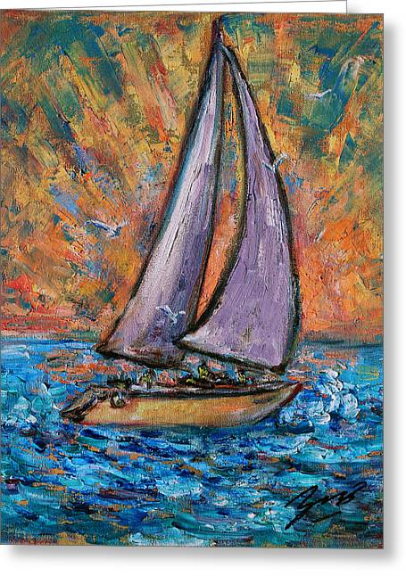 Greeting Card featuring the painting Sails Up by Xueling Zou