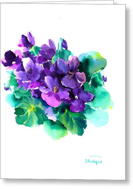 Sainpaulias, African Violets Greeting Card by Suren Nersisyan