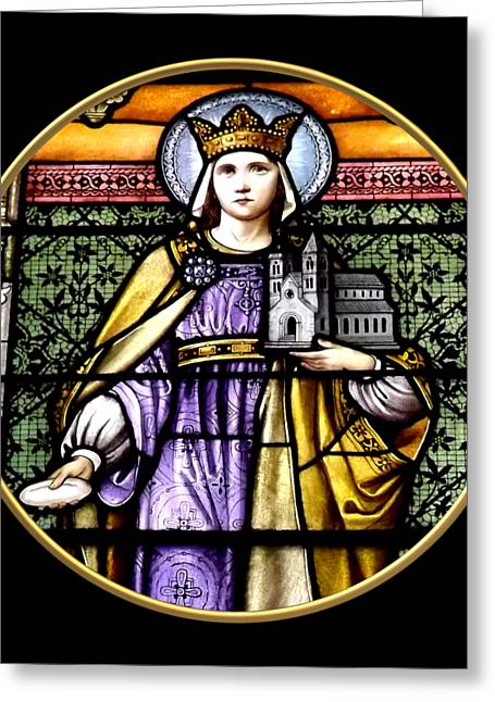 Saint Adelaide Stained Glass Window In The Round Greeting Card