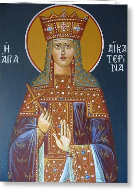 Byzantine Icon Greeting Cards - Saint Aekaterina Greeting Card by George Siaba