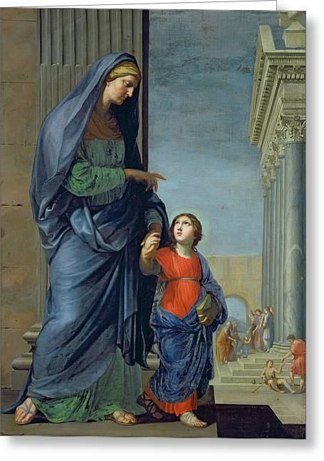 Saint Anne Leading The Virgin To The Temple Greeting Card by Jacques Stella