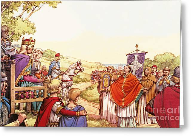 Saint Augustine Arriving In England Greeting Card by Pat Nicolle