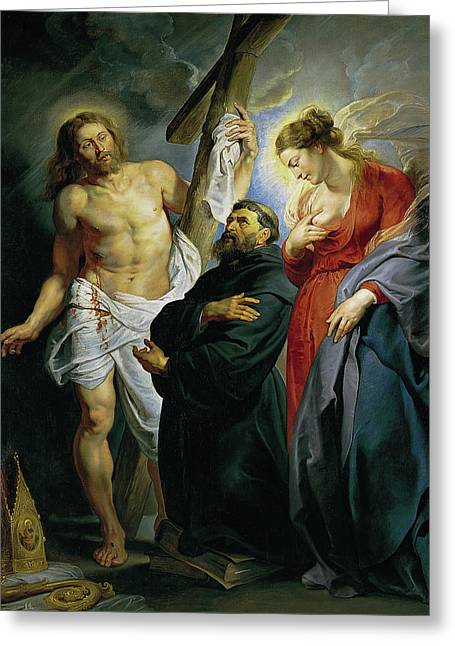 Saint Augustine Between Christ And The Virgin Greeting Card