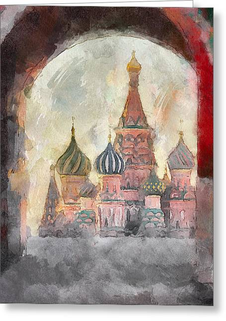 Saint Basil View At Entering Red Square  Greeting Card by Yury Malkov