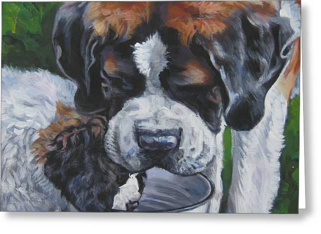 Saint Bernard And Pup Greeting Card