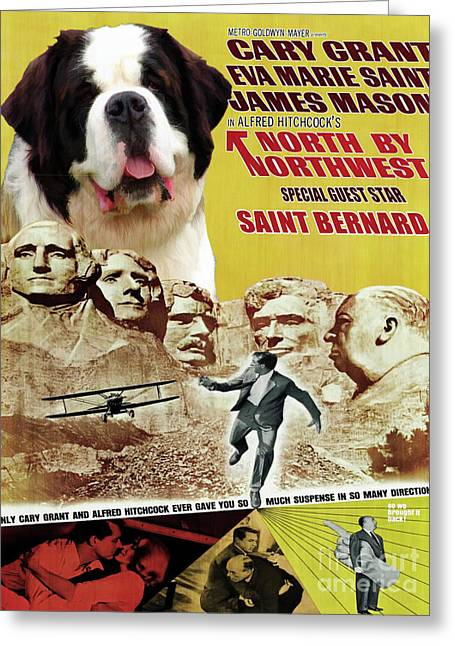Saint Bernard Art Canvas Print - North By Northwest Movie Poster Greeting Card