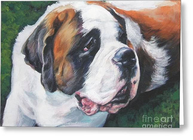 Saint Bernard Greeting Card by Lee Ann Shepard