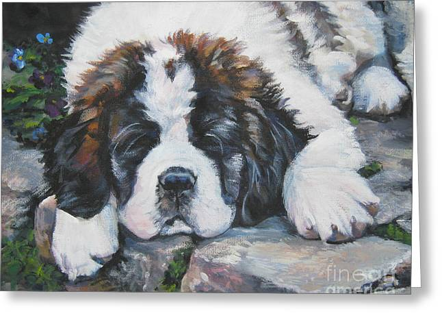 Saint Bernard Pup Greeting Card