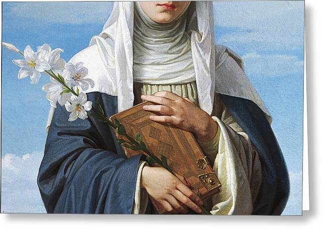 Saint Catherine Of Siena Greeting Card by Alessandro Franchi