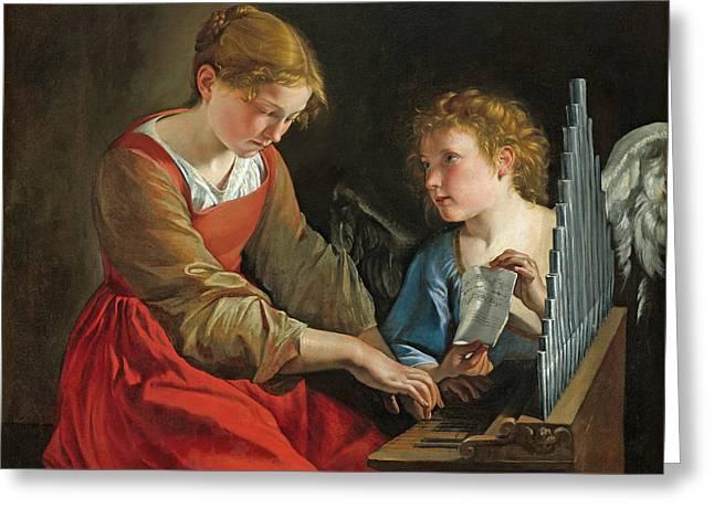 Saint Cecilia And An Angel Greeting Card