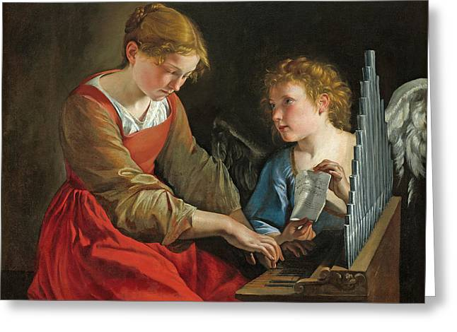 Saint Cecilia And An Angel Greeting Card