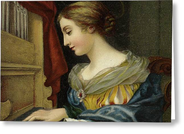 Saint Cecilia Playing The Organ Greeting Card
