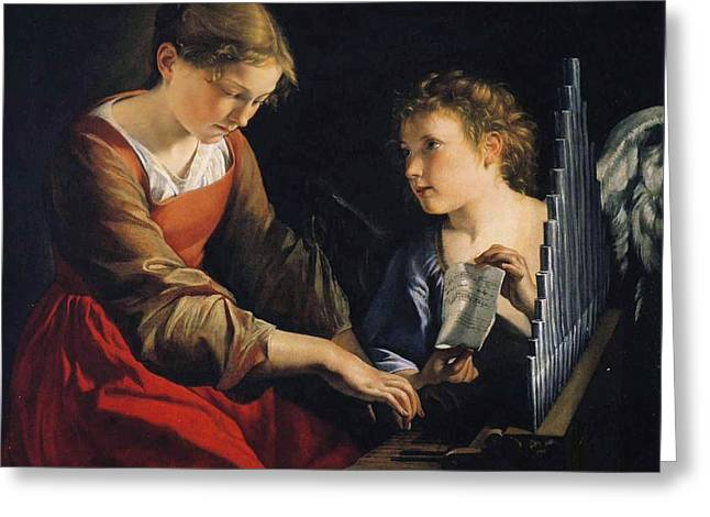 Saint Cecilia With An Angel Greeting Card