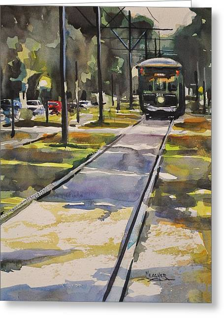 Saint Charles Street Trolley Greeting Card by Spencer Meagher