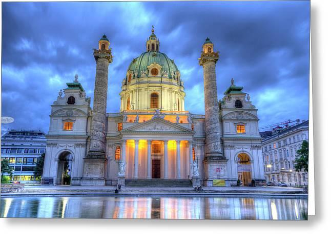 Saint Charles's Church At Karlsplatz In Vienna, Austria, Hdr Greeting Card