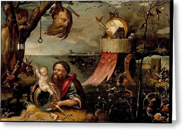 Saint Christopher And The Christ Child Greeting Card by Jan Mandijn