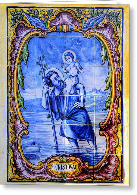 Saint Christopher Carrying The Christ Child Across The River - Near Entrance To The Carmel Mission Greeting Card