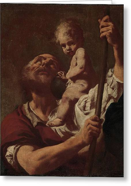 Saint Christopher Carrying The Infant Christ Greeting Card by Giovanni Battista Piazzetta