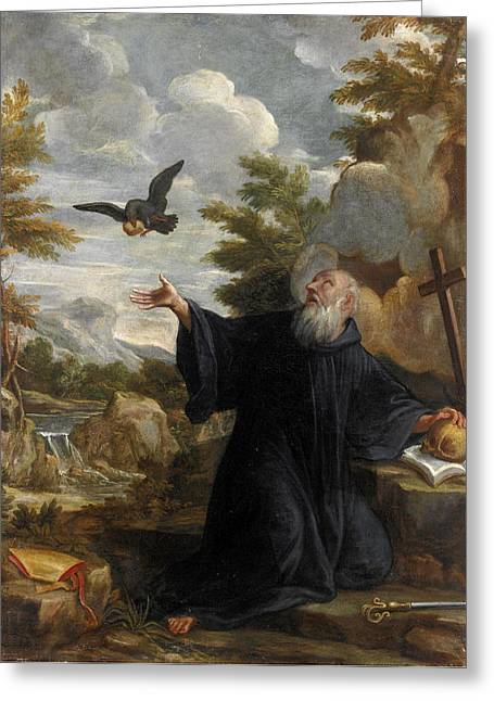 Saint Elijah Fed By The Raven Greeting Card by Lazzaro Baldi