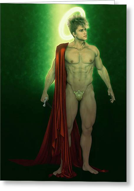 Saint Faust In Green Greeting Card by Joaquin Abella