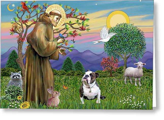 Saint Francis Blesses A Brown And White English Bulldog Greeting Card