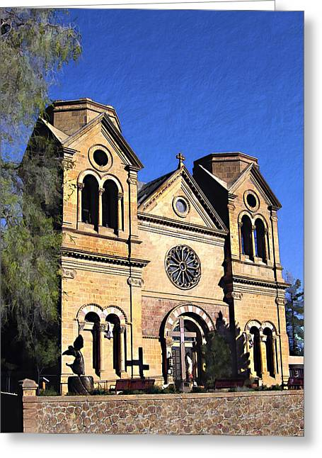 Saint Francis Cathedral Santa Fe Greeting Card by Kurt Van Wagner