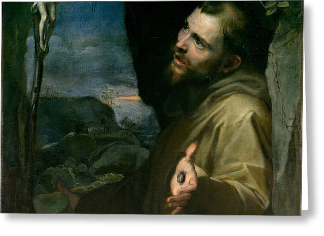 Greeting Card featuring the painting Saint Francis by Federico Barocci