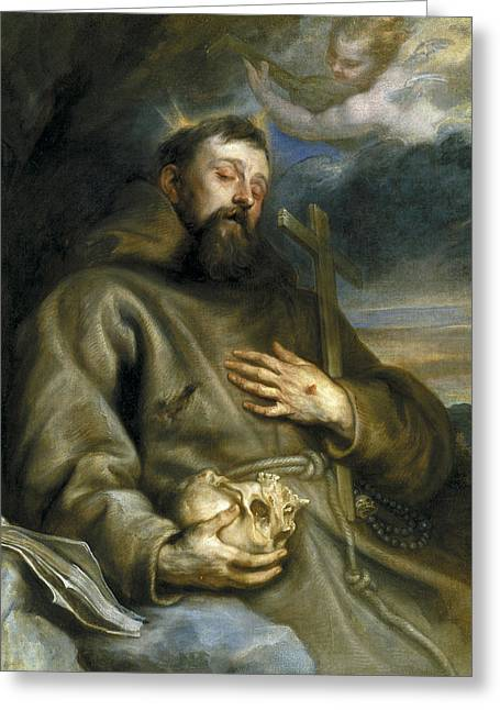Saint Francis Of Assisi In Ecstasy Greeting Card by Anthony van Dyck