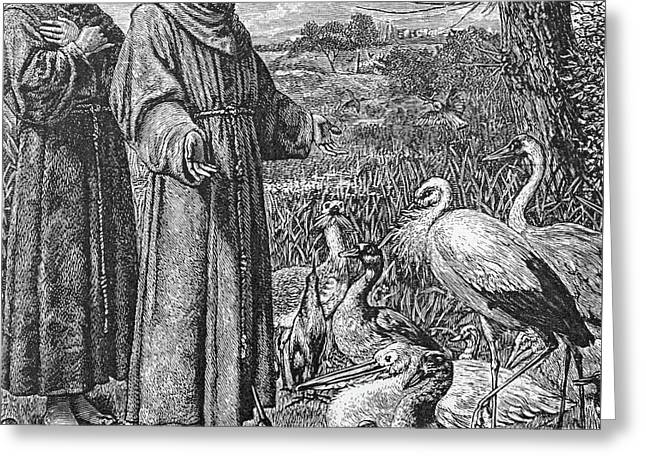 Saint Francis Of Assisi Preaching To The Birds Greeting Card by English School