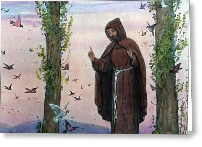 Saint Francis Of Assisi Preaching To The Birds Greeting Card by German School