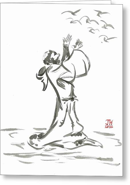 Sacred Drawings Greeting Cards - Saint Francis Preaches to the Birds Greeting Card by Jason Honeycutt