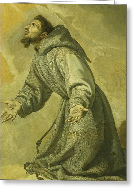 Saint Francis Receiving The Stigmata Greeting Card by Vicente Carducho