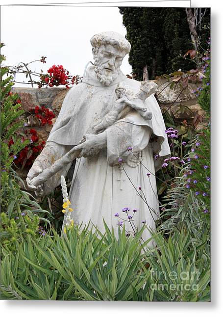 Saint Francis Statue In Carmel Mission Garden Greeting Card by Carol Groenen