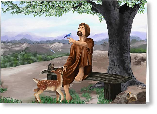 Greeting Card featuring the painting Saint Francis by Susan Kinney