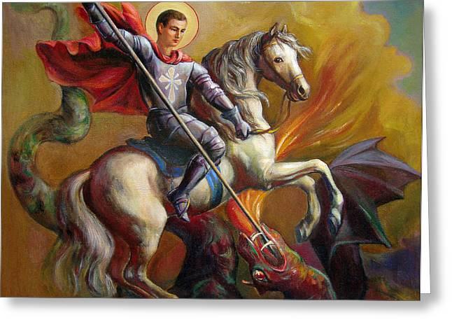 Saint George And The Dragon Greeting Card by Svitozar Nenyuk