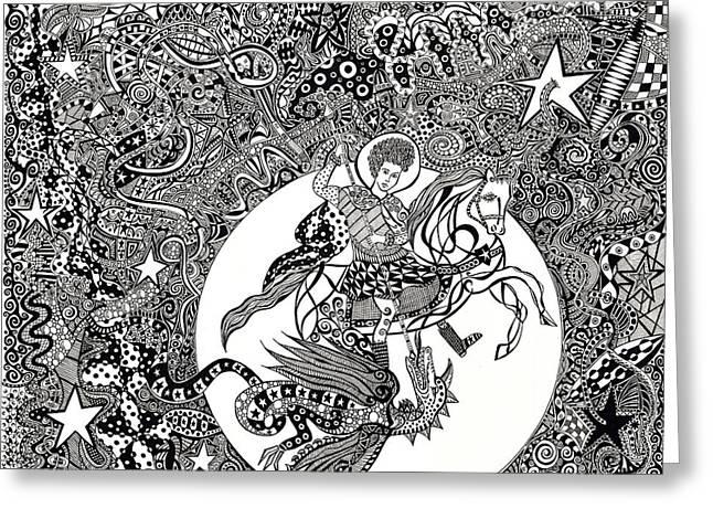 Saint George's Moon Greeting Card by Dom Dip